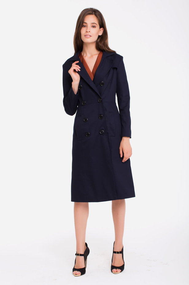Double-breasted blue trenchcoat photo 3 - MustHave online store