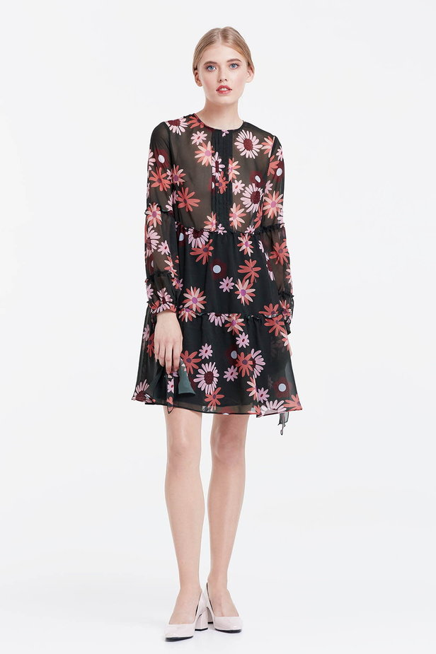 Dress with a floral print, flounces and ties photo 2 - MustHave online store
