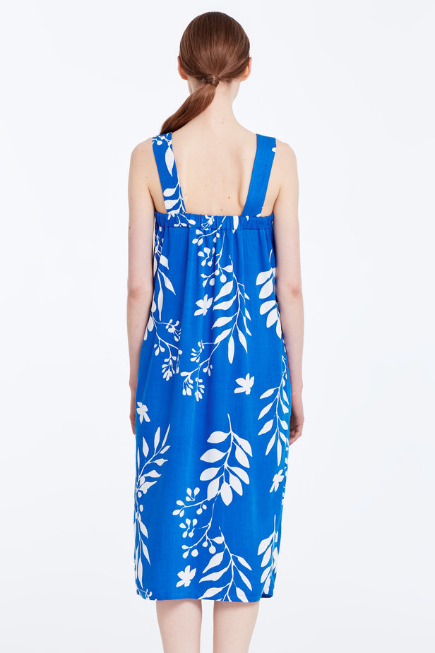 Blue sundress with white leaves and buttons photo 5 - MustHave online store