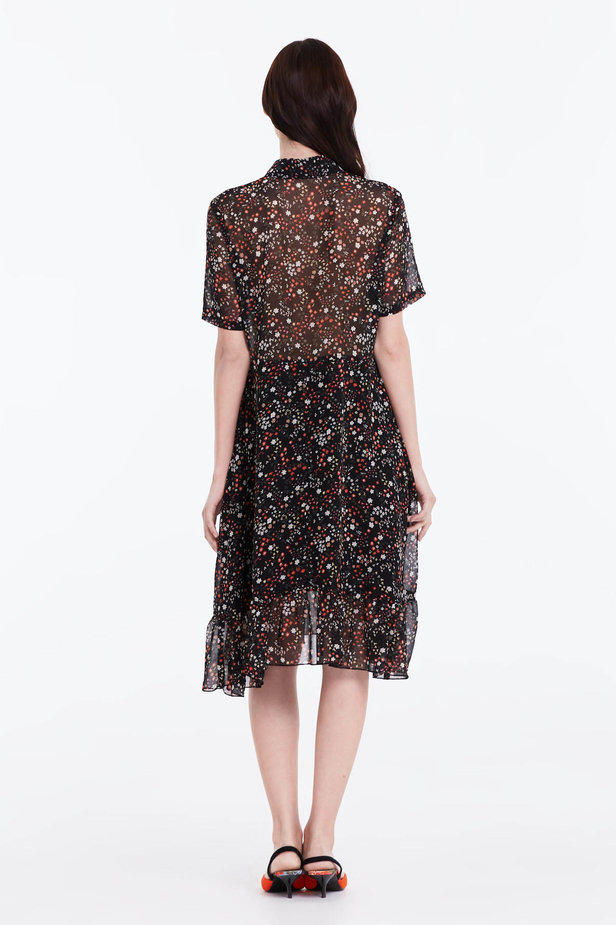 Black dress with a floral print, a shirt top and a flounce photo 5 - MustHave online store