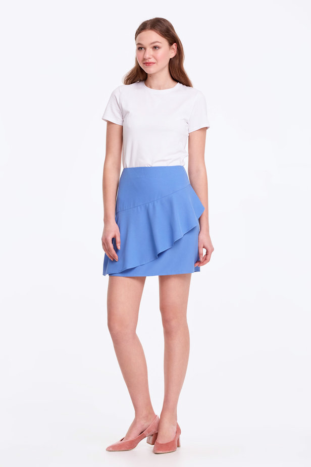 Mini blue skirt with a flounce photo 3 - MustHave online store