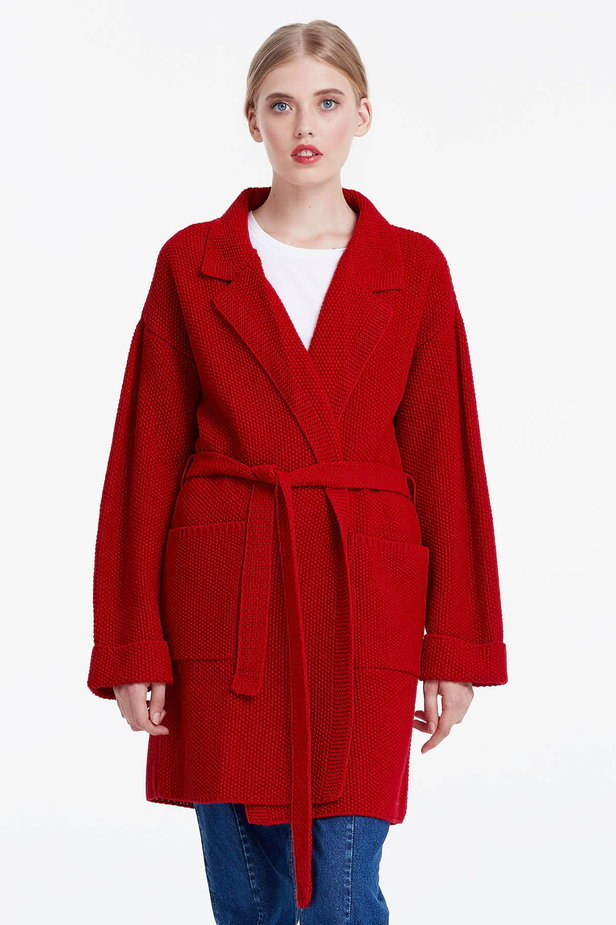 Red cardigan with a belt photo 1 - MustHave online store