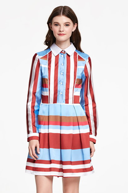 Striped dress with a white collar