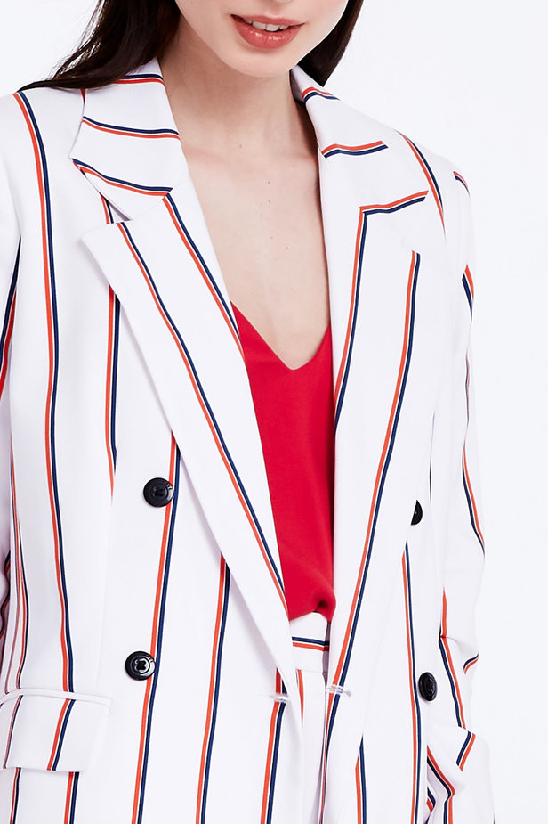 Double-breasted white jacket with blue and red stripes photo 3 - MustHave online store