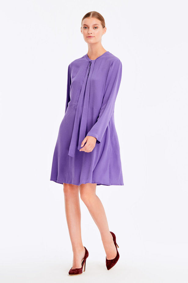 Violet dress with ties photo 4 - MustHave online store