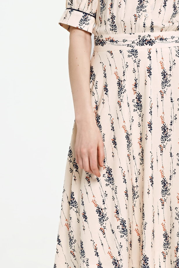 Midi beige shirt dress, floral print photo 3 - MustHave online store