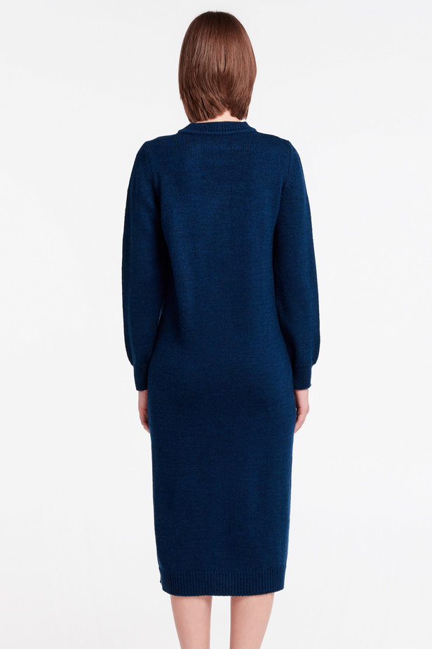 Dark-blue knit dress photo 4 - MustHave online store