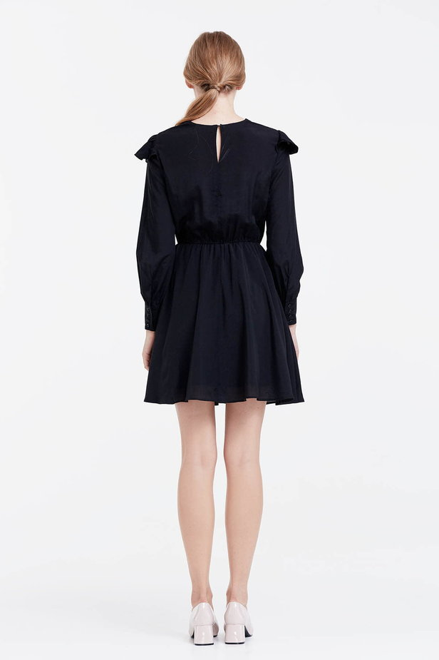 Mini black dress with ruffles photo 3 - MustHave online store