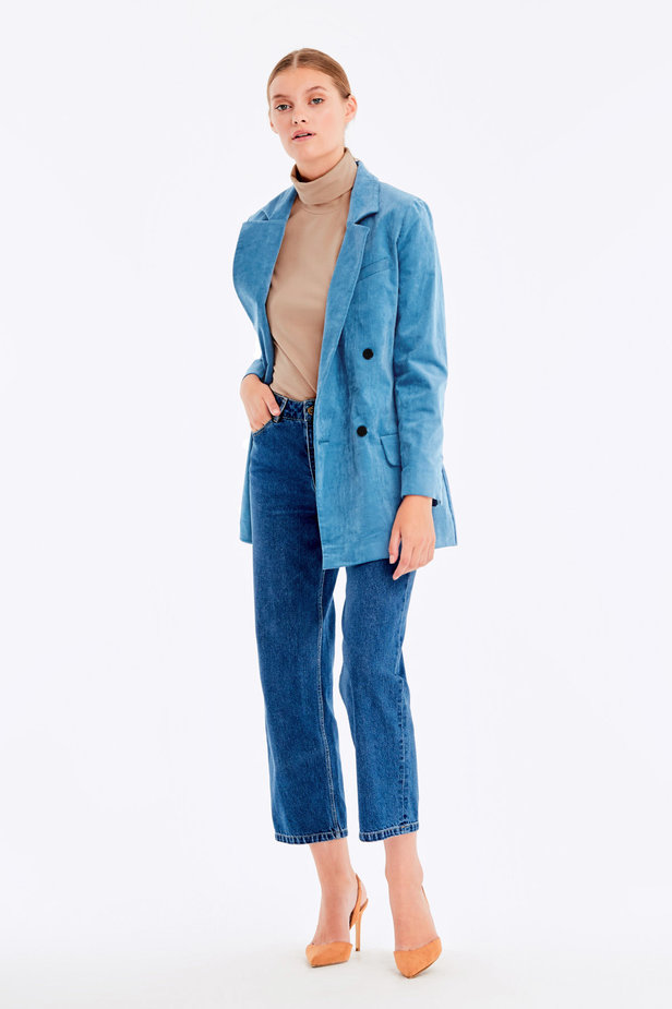 Double-breasted blue velvet jacket photo 2 - MustHave online store