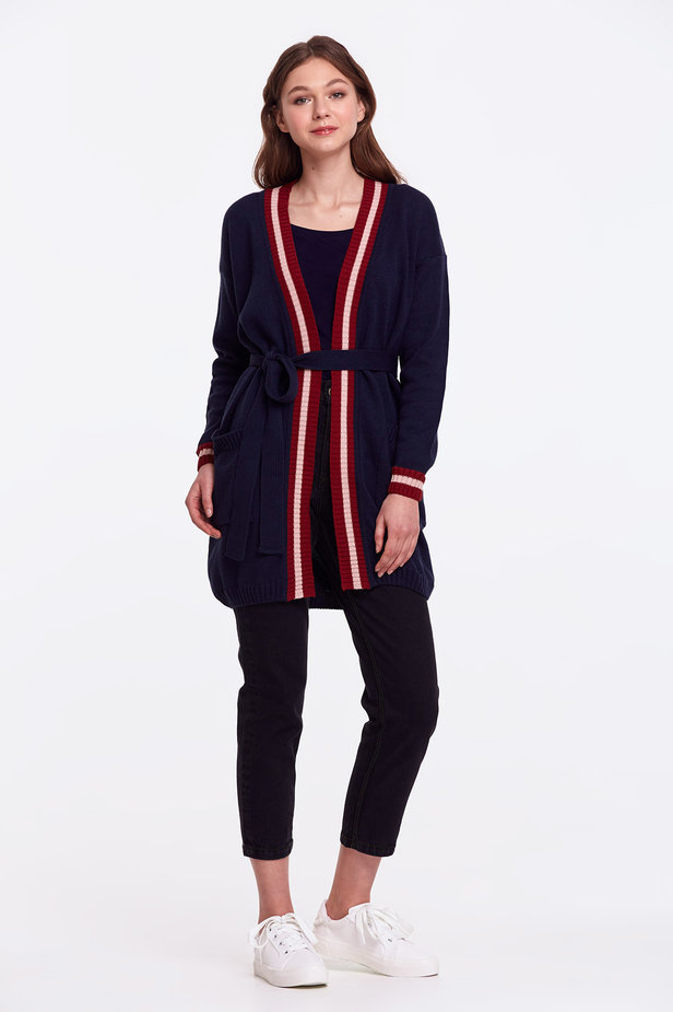 Dark blue cardigan with stripes photo 9 - MustHave online store