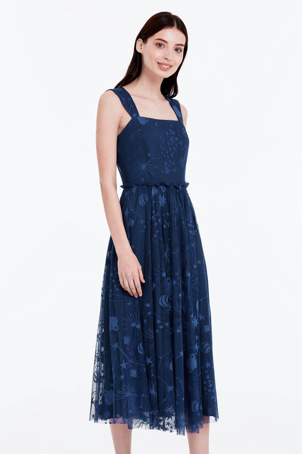 Blue dress with a space pattern photo 1 - MustHave online store