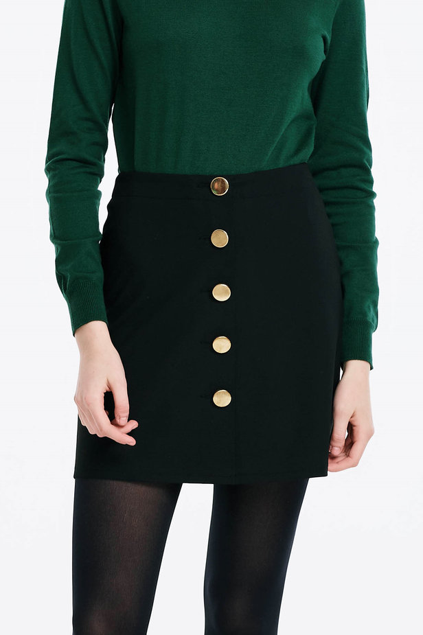 Mini black skirt with golden buttons photo 1 - MustHave online store