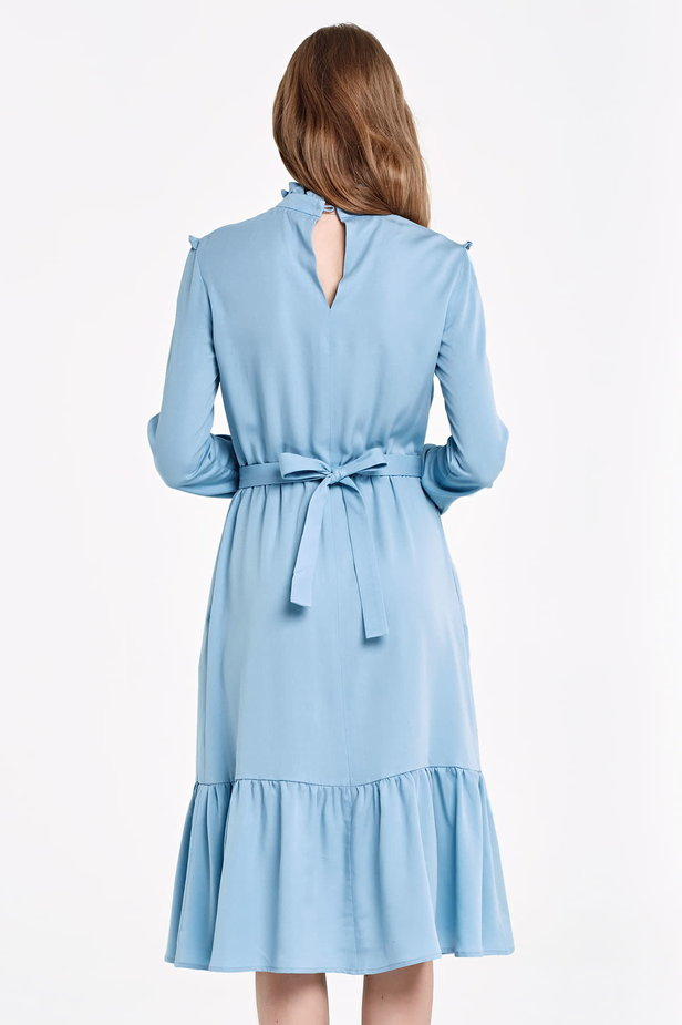 Blue dress with a ruffle yoke photo 4 - MustHave online store