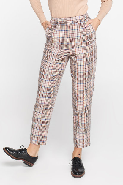 Straight plaid suit fabric trousers
