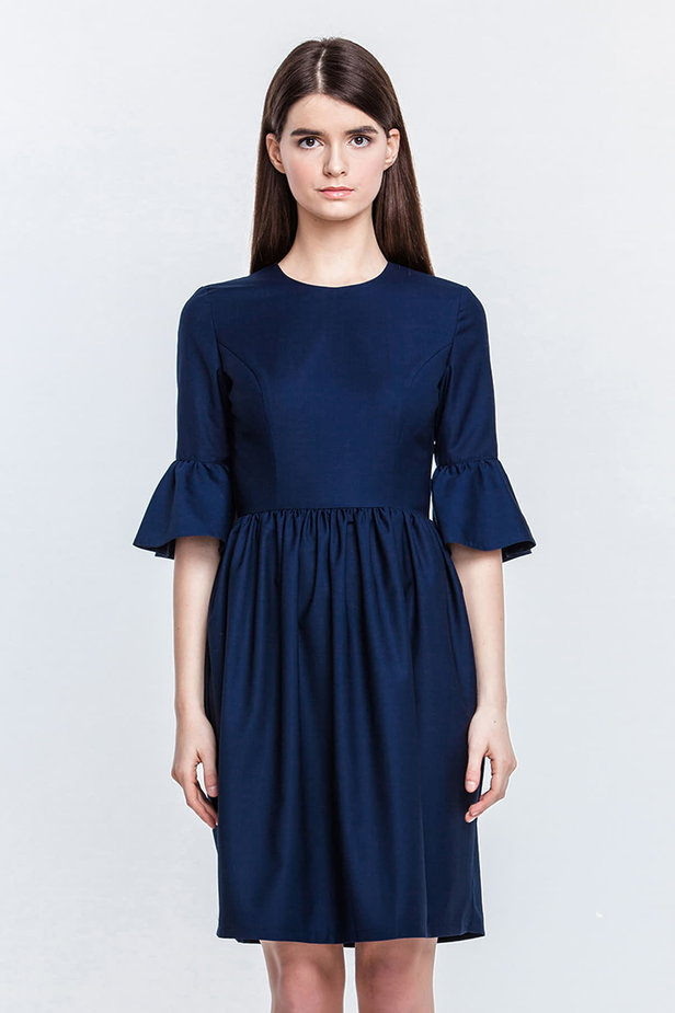 Blue dress with flared sleeves photo 1 - MustHave online store