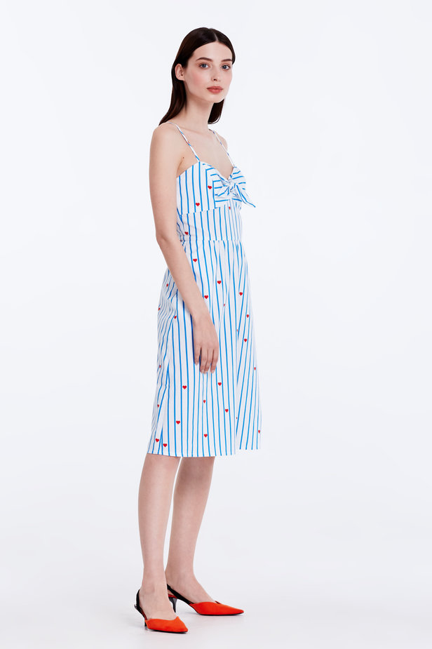 Sundress with blue stripes, hearts and ties photo 5 - MustHave online store