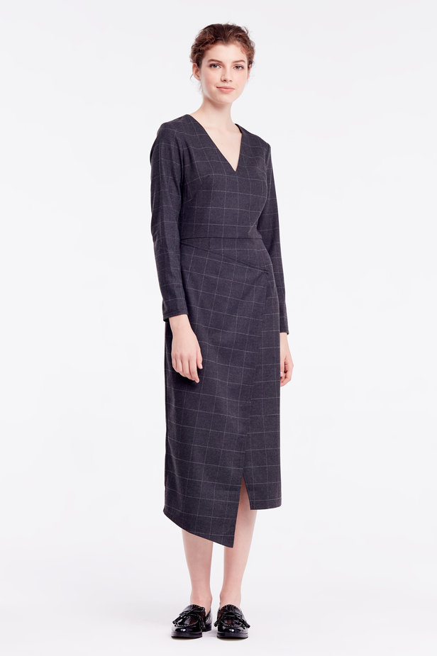 Wrap grey checkered midi dress photo 3 - MustHave online store