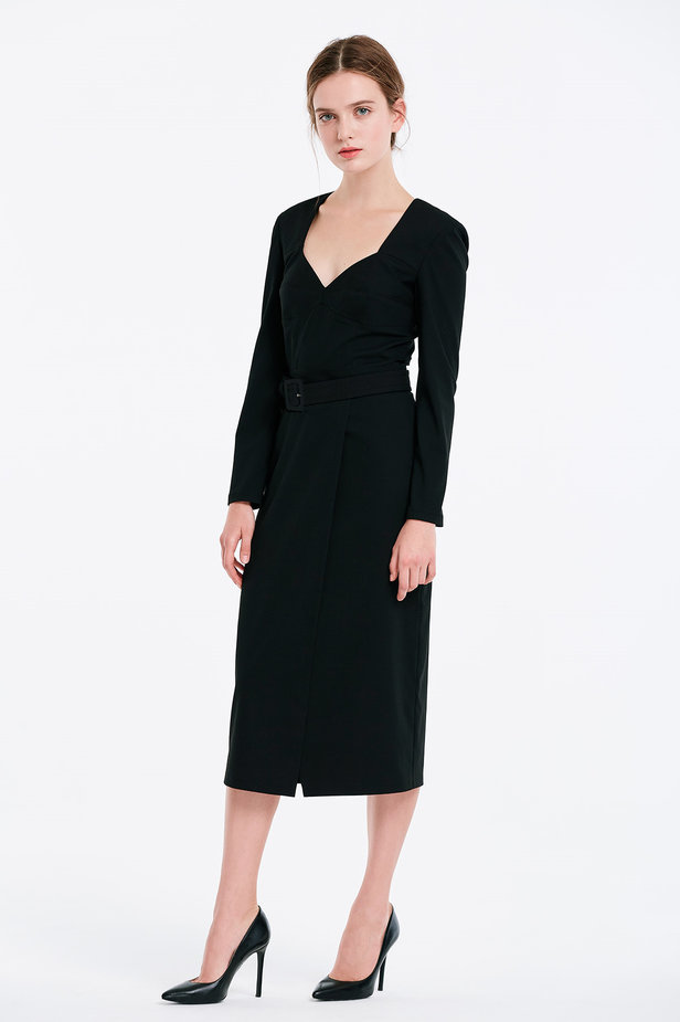 Wrap column black dress photo 4 - MustHave online store