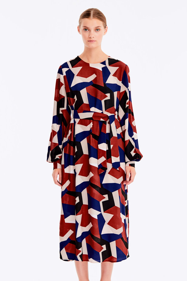 Free midi dress with variegated geometric print ¶¶ photo 1 - MustHave online store