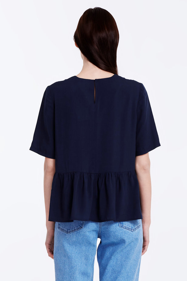 Dark-blue top with a flounce photo 5 - MustHave online store