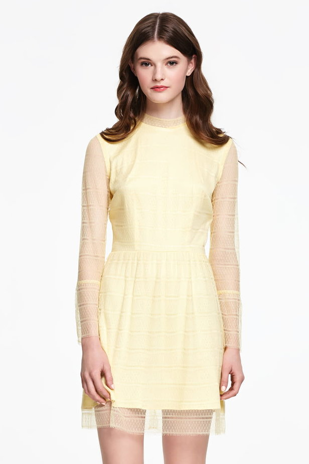 Mini yellow lace dress with flounced sleeves photo 1 - MustHave online store
