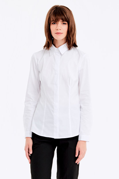 White shirt with a concealed placket