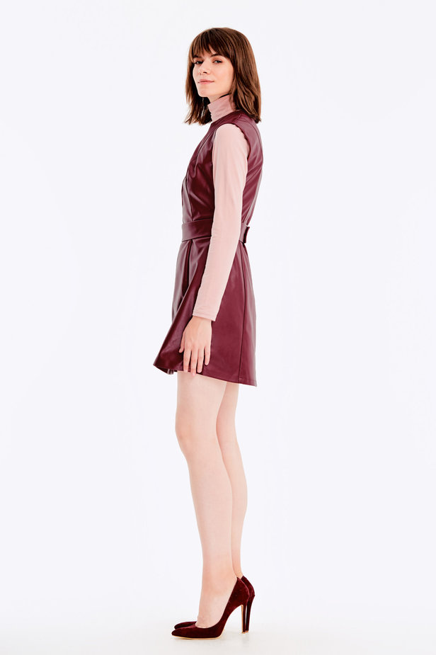 Below-knee burgundy leather dress photo 3 - MustHave online store
