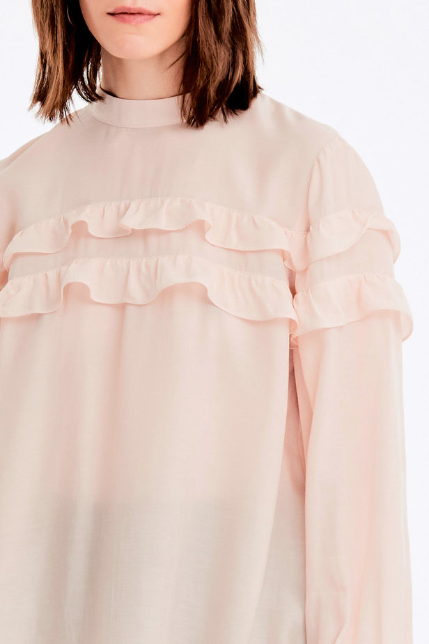 Beige blouse with ruffles photo 2 - MustHave online store