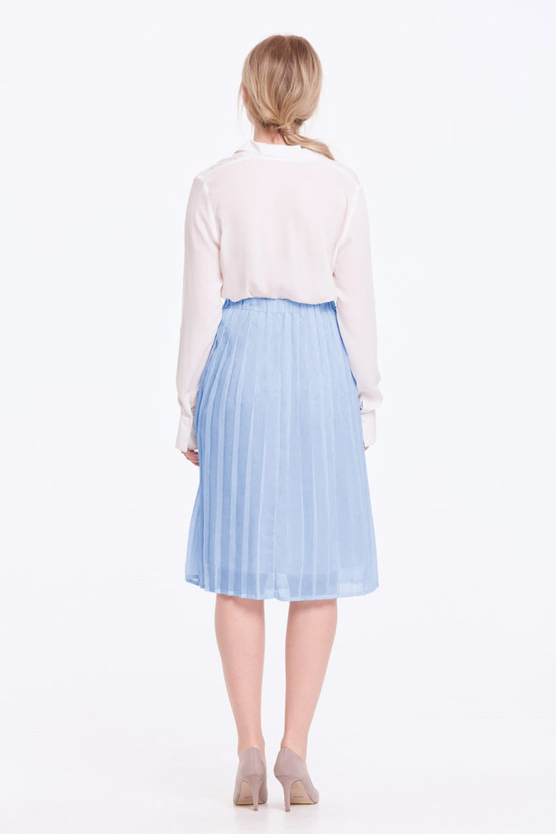 Below the knee pleated sky-blue skirt photo 4 - MustHave online store