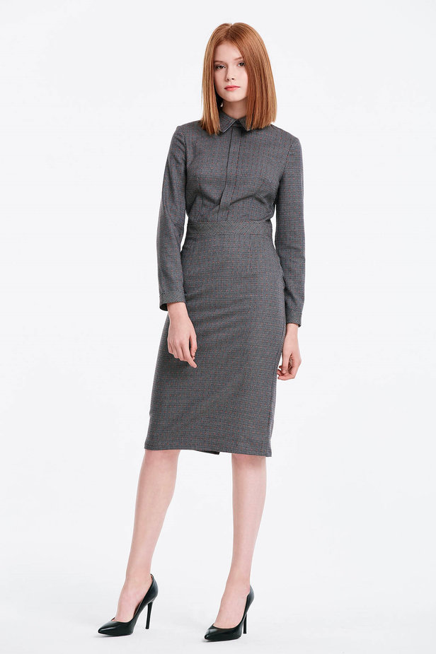 Grey shirt dress with a houndstooth print photo 5 - MustHave online store