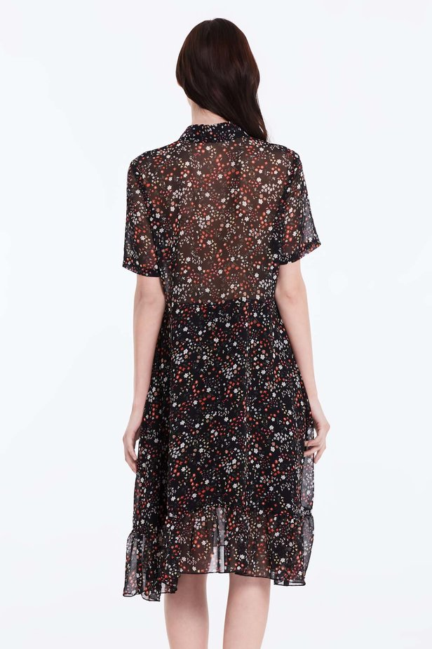 Black dress with a floral print, a shirt top and a flounce photo 4 - MustHave online store