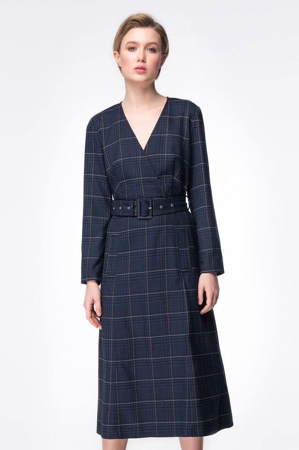 Dark-blue check dress with a waist photo 1 - MustHave online store