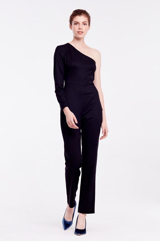 One shoulder black jumpsuit photo 1 - MustHave online store