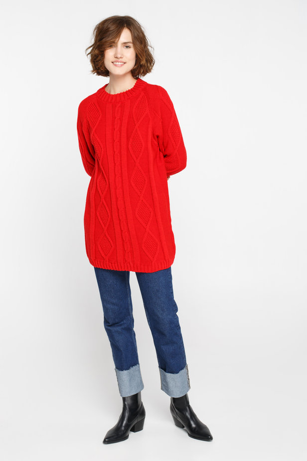 Long red sweater with braids photo 5 - MustHave online store