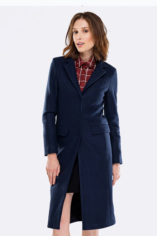 Blue coat with flaps