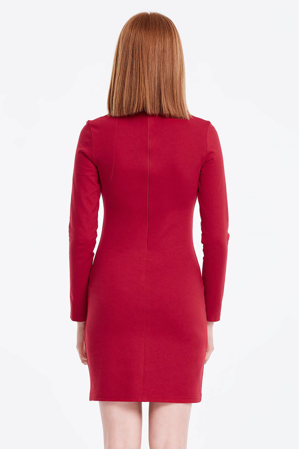 Column red dress with a stand up collar photo 2 - MustHave online store