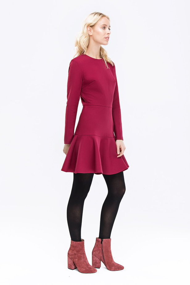 Wine-colored dress with a trumpet skirt photo 4 - MustHave online store