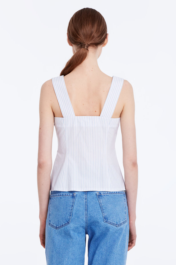 White top with blue stripes and buttons photo 5 - MustHave online store