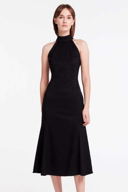 Black midi dress with a stand-collar