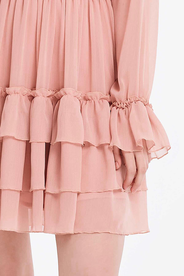Powder pink dress with flounces photo 5 - MustHave online store