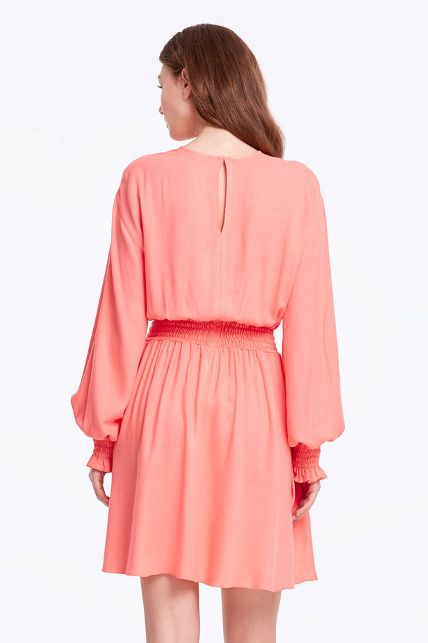 Coral dress with an elastic waistband photo 3 - MustHave online store
