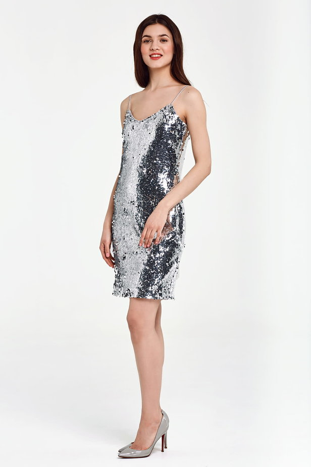 Silver sequin dress with straps photo 2 - MustHave online store