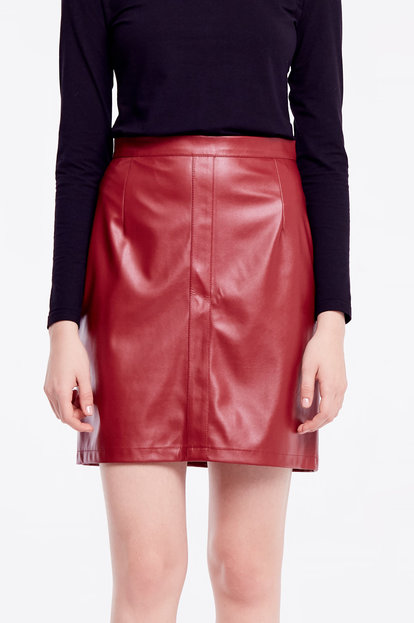 Short burgundy leather skirt