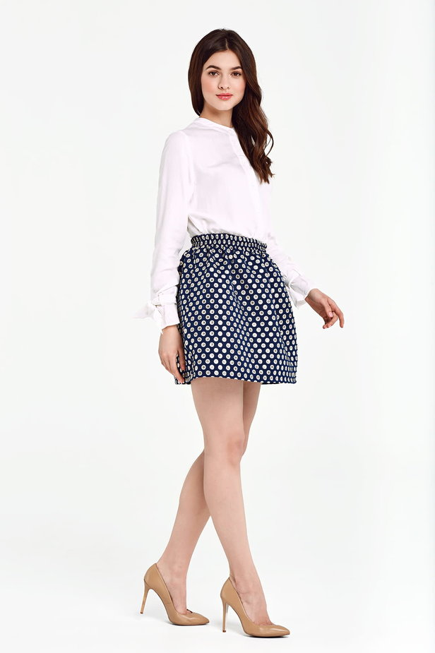 Dark blue skirt with an elastic waistband, polka dot print photo 6 - MustHave online store