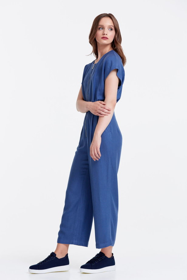 Blue jumpsuit with a zip photo 2 - MustHave online store