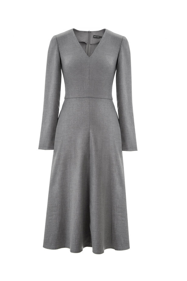 V-neck grey dress photo 6 - MustHave online store