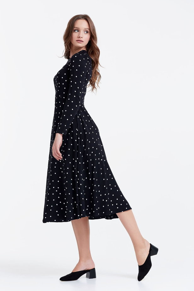 Midi black dress with a white polka dot print photo 2 - MustHave online store