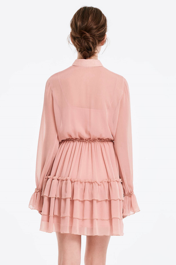 Powder pink dress with flounces photo 2 - MustHave online store