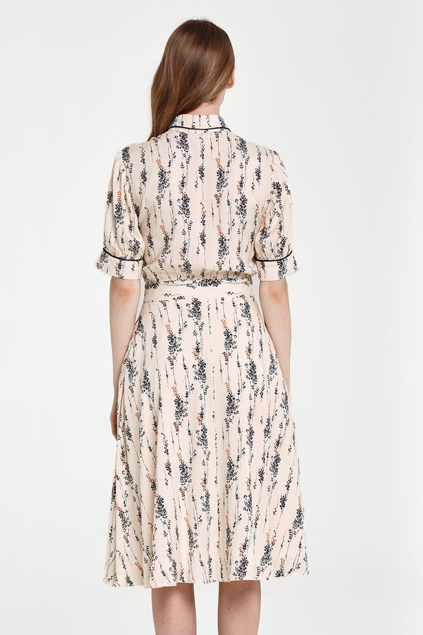 Midi beige shirt dress, floral print photo 4 - MustHave online store