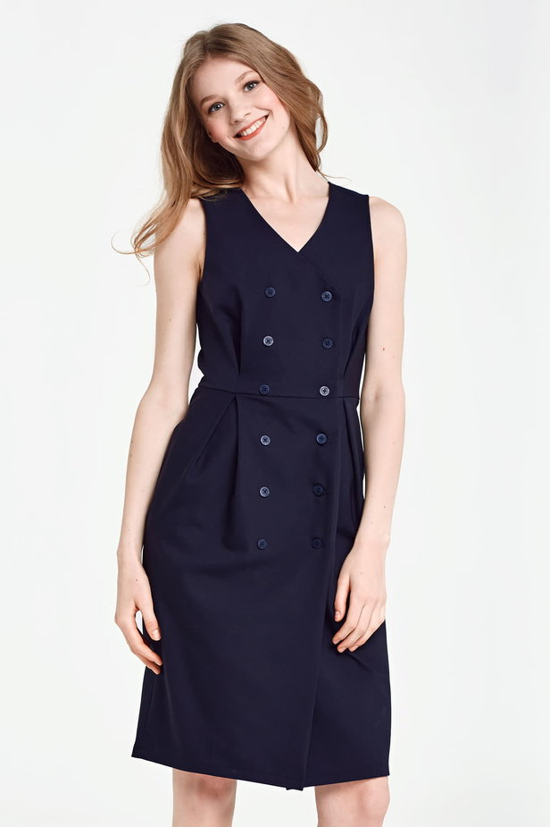 Dark blue column dress with buttons below the knee photo 1 - MustHave online store